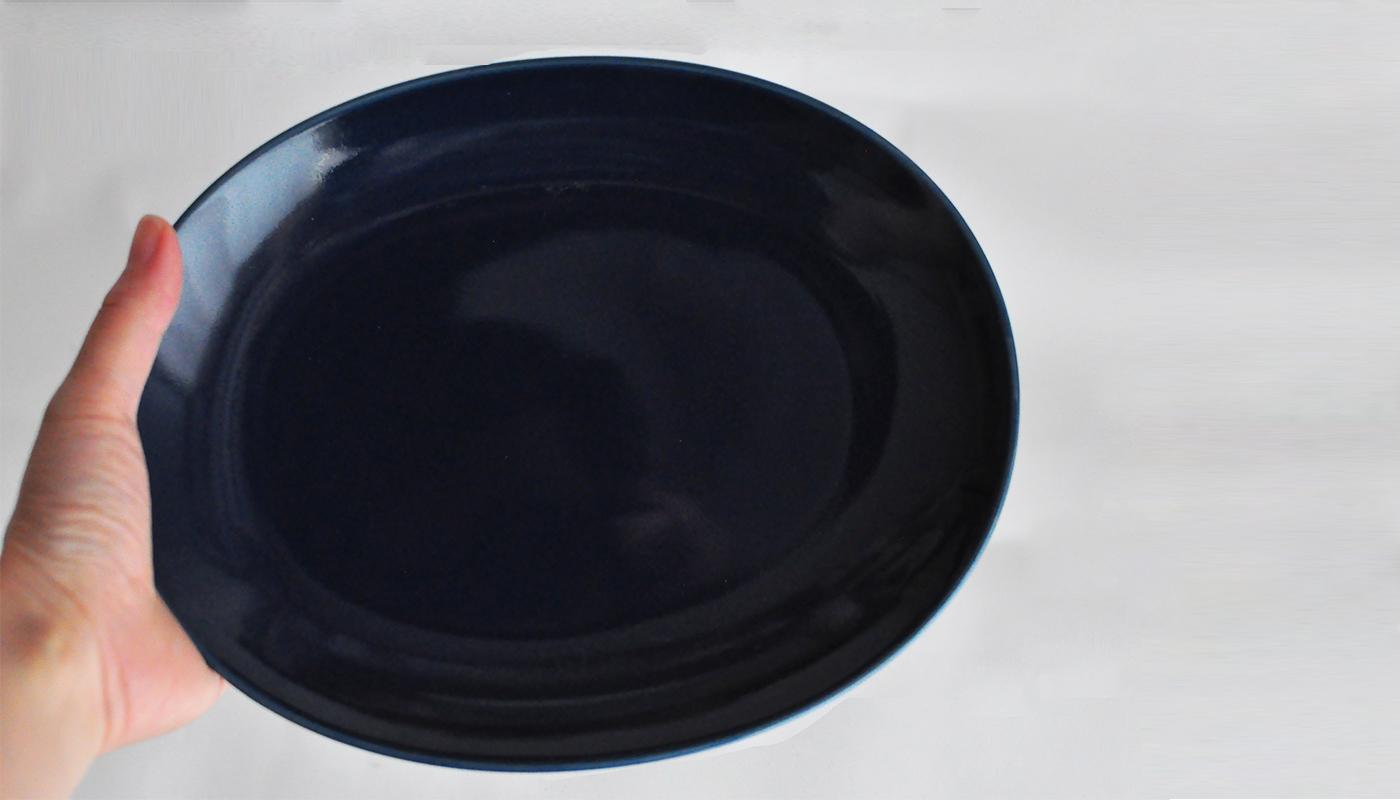 Common コモン オーバルプレート22cm ネイビー03