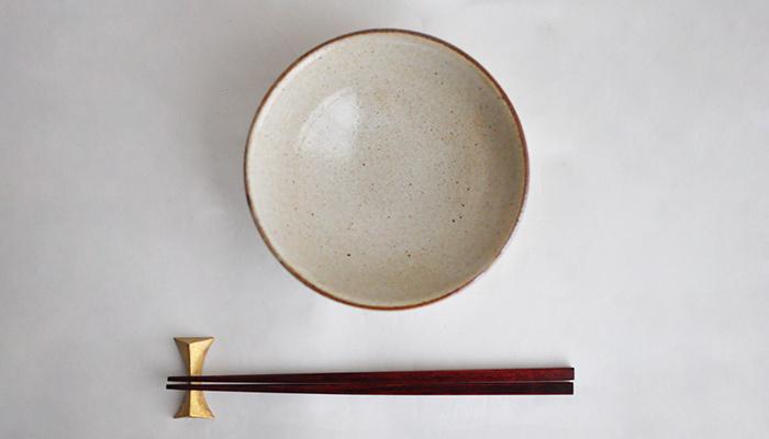 中村恵子の飯碗 大 黒×皹粉引 02