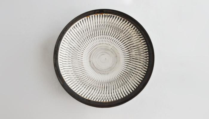 飛び鉋 7寸平鉢(22cm)黒木史人窯